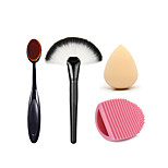 2 x Makeup Brush Set (Powder Blush Foundation Brush+ Sponge Puff + Contour Brushes Pincel Maquiagem)