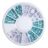 2/2.5/4mm Turquoise Beads Wheel Charms 3D Decorations Nail Art Supplies Fashion