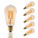 E27 LED Filament Bulbs ST58 COB 330 lm Amber Decorative AC 220-240 V 6 pcs Edison Style Bulb