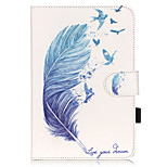 PU Leather Material Blue Feather Embossed  Pattern Tablet Sleeve for iPad mini 4