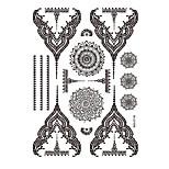 1pc Black Henna Temporary Tattoo Woman Body Art Flower Pendant Necklace Jewelry Sticker BM-LS1006