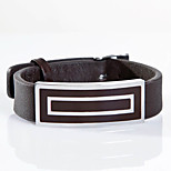Fashion Men's Brown 316L Stainless Steel Leather Bracelets