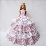 Party & Evening Dresses For Barbie Doll Light Purple Lace / Patchwork Dresses