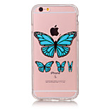 TPU Material Blue Butterfly Pattern Painted Relief Phone Case for iPhone 6s Plus / 6 Plus/6S/6/SE / 5s / 5