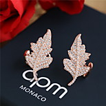 Women Alloy Golden Leaf  Clip Earrings
