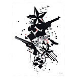 1pc Black Body Flower Arm Art Decal Tattoo Women Men Gun Star Death Poker Bird Styling Temporary Tattoo Sticker HB-417
