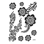 1pc Black Ink Henna Temporary Tattoo Penoy Flower Woman Body Art Classic Tattoo Sticker BJ030