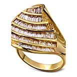 Band Rings AAA Cubic Zirconia Zircon Cubic Zirconia Copper Platinum Plated Gold Plated Fashion Statement Jewelry White Golden Jewelry