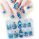 24pcs/set Blue Sapphire Rhinestone Diamond With Glitter Powder Nail Art Self-Adhesive False Fake Nail Tips Stickers