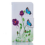 Blue Butterfly Pattern PU Leather Full Body Case with Stand and Card Slot for Nokia Lumia 650/550