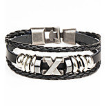 Punk Men's Bracelet PU Leather Bracelet Easy Hook X Shape for Men Fashion Jewelry