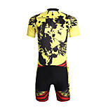 Breathable Paladin Summer Male Short Sleeve Cycling Jerseys Suit 100% Polyester DT660 Yellow Skeleton