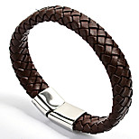 Fashion Mens' 316L Satinless Steel Clasp Leather Bracelets