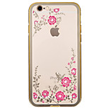 de volta Strass / Galvanização Flor Metal Macio Metal frame+Diamond plating Secret Garden Case Capa Para AppleiPhone 6s Plus/6 Plus /