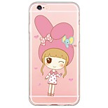 Cartoon Rabbit Girl Pattern TPU Ultra-thin Translucent Soft Back Cover for Apple iPhone 6s 6 Plus SE/5s/5