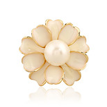 Women's Imitation Pearl Camellia Flower Gold Silver Plated Daily/Casual Brooch Pins Shawl Scarves Scarf Buckle Ring