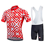 Fastcute® Cycling Jersey with Bib Shorts Men's Short Sleeve BikeBreathable / Quick Dry / Moisture Permeability / Sweat-wicking / YKK