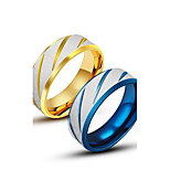 Men's Rings Personality Titanium Steel Ring Blue Gold Band Ring for Men Fashion Jewelry Gift