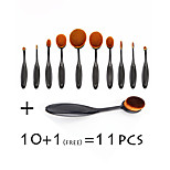 11 Pcs Tooth Brush Shape Oval Makeup Brushes Makeup Brushes Set Foundation Contour Powder Eyebrow/ Eyeshadow Brush Set