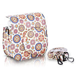 Flower PU Leather Case Bag for Fujifilm Instax Mini 8 Instant Film Camera, White