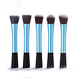 5 Makeup Brushes Set Synthetic Hair Portable Wood Face Others