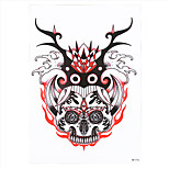 1pc DIY Red Skull Antler Pattern Decal Temporary Tattoo for Women Men Body Art Sticker HB-216