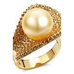 Women Deluxe Synthetic Pearl Finger Rings Cubic Zircon Setting 18K Gold Plated Fashion Bridal Wedding Jewelries