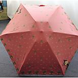 Fresh Deer Ultralight Mini Flat Mobile Phone Umbrella Vinyl Uv Sunscreen Super Sunny Umbrella Five Folding Pocket