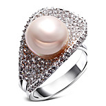 Women Deluxe Synthetic Pearl Finger Rings Cubic Zircon Setting Platinum Plated Low Cadmium Bridal Wedding Jewelries