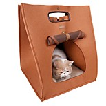 Mutifuntional Brown/Grey Portable Warm Bed and Portable Dog Bag for Pets Dogs and Cats