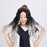 Natural Bombshell Grey Ombre Synthetic Small Curly Wig Kylie Jenner Long Wavy Corn Very Hot Heat Resistant Wig