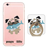 Dog Pattern Ring Holder Ultra-thin Translucent Soft TPU Back Cover for iPhone 6s Plus/6 Plus/6s/6/SE/5s/5