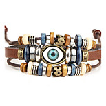 Punk Men's Bracelet PU Leather Bracelet Evil Eye Charm Multilayer for Men Fashion Jewelry