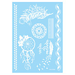 1pc White Henna Temporary Tattoo Bird Feather Lace Body Art Tattoo Sticker Wedding Party WM-LS1020