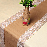 Yellow Linen Lace Yarn Christmas Craft Linen Table Runner Chair Wedding Decorations