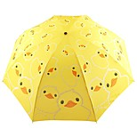 Cute Little Yellow Duck Three Folding Mini Umbrella Children Adult Umbrella