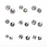 estilo mezclado 297pcs 9 beadia&Tamaños granos de la aleación de plata antigua tapa de metal flor de los granos del espaciador