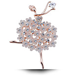 Women's Fashion Crystal Rhinestone Brooches Gold Plated Ballet Girl Party Prom Dress Accessories Pins Jewelry Brooches