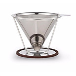 Stainless Steel Pour Over Coffee Dripper Reusable Double Layer Mesh Filter