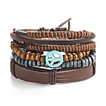 4pcs/set Punk Men's Bracelet PU Leather Bracelet Adjustable Beads Multilayer for Men Fashion Jewelry