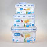 juego de la marca de yooyee rectangular grado 3pcs alimentos envase de alimento hermético con el armario