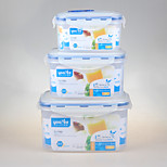 YOOYEE Brand Set of 3pcs Food Grade Rectangular Airtight Food Container with Locker
