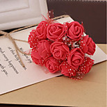 Simulation Pe Roses Plus Yarn Handmade Lace Pe Foam Flower Garland Flower Diy Candy Box Accessories 144 / Pack