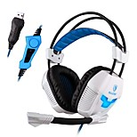 SADES A30S Pro Over Ear USB Surround Sound Stereo PC Gaming Headphones with Mic Vibration Volume Control LED light