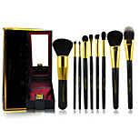 9 Makeup Brushes Set Goat Hair Portable Wood Face Others
