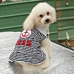 Cat / Dog Shirt / T-Shirt / Dress Red / Blue Dog Clothes Summer / Spring/Fall Sailor Casual/Daily