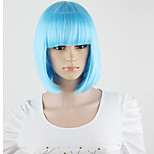 Harajuku Women's Lolita Short Synthetic Hair Party Brown Mixed Cosplay full Wigs Sky Blue Wigs