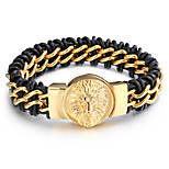 Kalen New Arrival Retro Leather&316L Stainless Steel 18k Dubai Gold Wolf Charm Bracelets Mens Wholesale Jewelry Gift