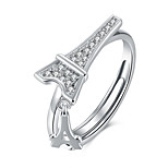 Fine Sterling Silver Eiffel Tower Diamond Statement Ring for Women Wedding Party