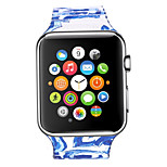 Blue And White Marbling Painted Flower Pattern Cortical Back To Buckle Watchbands For Apple Watch 42mm 38mm